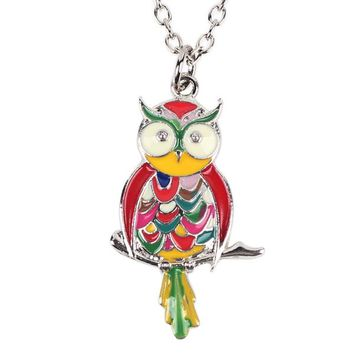 Metal Alloy Enamel Owl Necklace Chain Bird Colorful Pendant News Fashion Jewelry For Women Statement Charm Collar