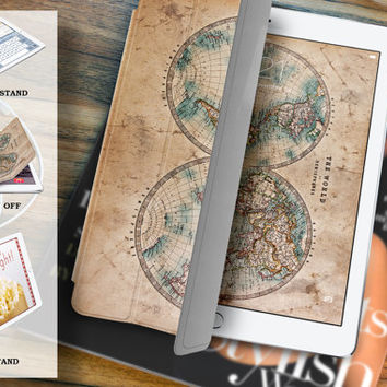 ipad air 2 case leather smart cover  for ipad mini ipad air 1 2 3 retina display worldmap-07twoworld