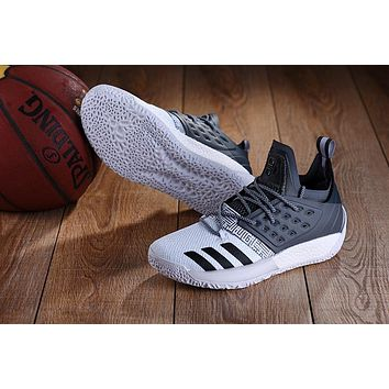 DCCK A151 Adidas James Harden Vol.2 Boost Training Basketball Shoes White Grey