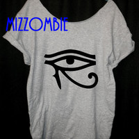 Egyptian Eye of Horus Eye of Ra inspired designed loose fitting off the shoulder ladies, women t shirt protection good health