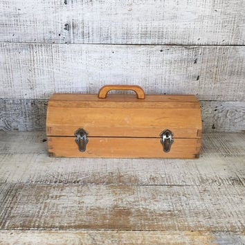 Wood Toolbox Wooden Box Vintage Industrial Box Small Tool Box Vintage Toolbox Handmade Wooden Box Homemade Toolbox Vintage Storage Folk Art
