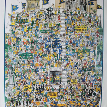 "Vintage John Holladay Notre Dame ""Fighting Irish"" Wall Poster 1983"