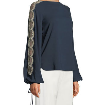 Oscar de la Renta Beaded Bishop-Sleeve Blouse and Matching Items