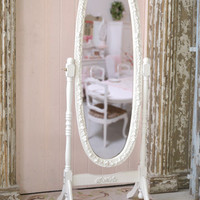 Bella Collection White Cheval Rose Mirror - The Bella Cottage