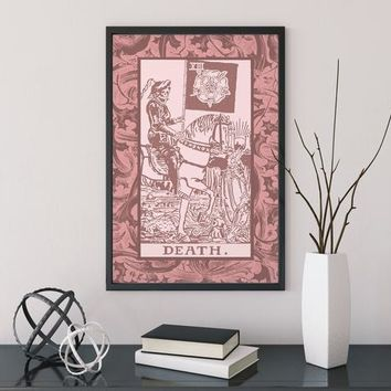 Death - Pink & White Tarot Card Print - The Death Card Pink Poster, No Frame