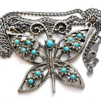 Vintage Butterfly Blue Turquoise Necklace 19""