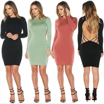 Women Long Sleeve Backless Bodycon Dress Pure Color  Bandage Round Collar Cocktails Dress S-L = 5618496961