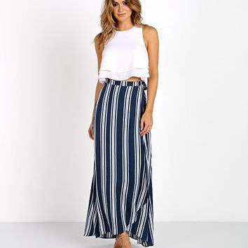 Show Me Your Mumu Siren Wrap Skirt Navy Stripe Breeze