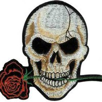Skull Iron-On Patch Rose