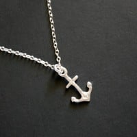 Anchor in sterling silver  Cute simple necklace thank you by untie