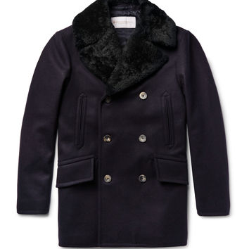 Private White V.C. - Manchester Slim-Fit Shearling-Trimmed Melton Wool Peacoat