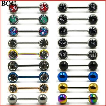 ac PEAPO2Q 1 Pair Surgical Steel Sexy Dirty Word CZ Gem Ring Piercing Barbells Shield Body Jewelry 14g