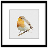 Robin Printable Poster, Bird Painting Instant Download, Print Your Own Cards and Wall Art
