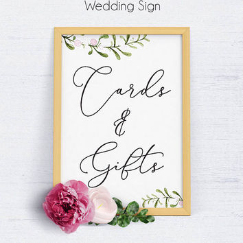 Greenery Wedding Gifts Sign, Wedding Welcome Sign, Wedding Sign, Reception Sign, Gifts Sign, Favor Sign, Gifts and Cards, Reception, Rustic