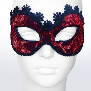Red And Black Masquerade Mask -  Shimmering Tulle Covered Venetian Mask With Red Rhinestones