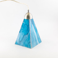 Aqua Blue Art Glass Pendant Lighting, Kitchen Island, Ceiling Light Fixture, Stained Glass Hanging Lamp, Choice of Hardware