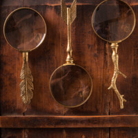 Pewter Magnifying Glass in Gold Leaf by Burke Decor