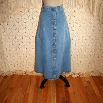 Vintage High Waist Long Denim Skirt Button Up Denim Maxi Skirt Western Boho Cowgirl Vintage Clothing Size 4 Skirt Small Womens Clothing