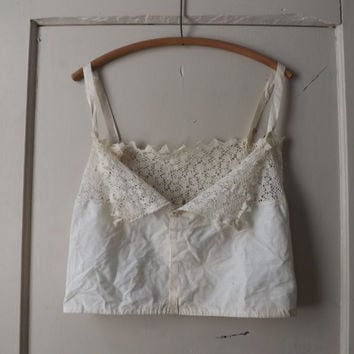 Vintage 1900s Edwardian Ivory Lace Camisole Victorian Edwardian Lingerie Blouse Cropped Tank Boho Small Antique Corset Cover Camisole