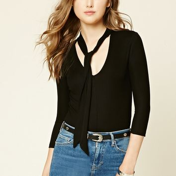Ribbed Knit Tie-Neck Bodysuit