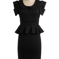 ModCloth Vintage Inspired Long Short Sleeves Peplum Work with Me Dress in Black