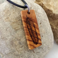 Small Feather Necklace Wood Art Pyrography Feather Jewelry Olive Wood Pendant