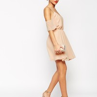 ASOS PETITE Cold Shoulder Flutter Sleeve Skater Dress