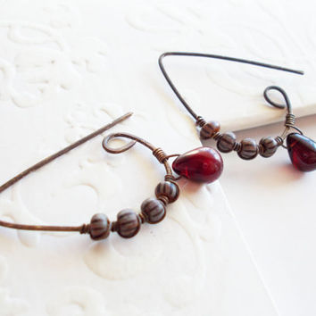 Primitive garnet dangle earrings, old world striped beads, wire wrapped oxidized brass, ancient mix, czech glass drops