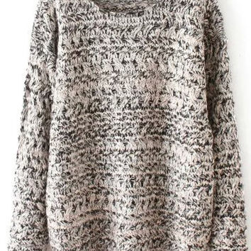 Grey Mohair Long Sleeve Sweater