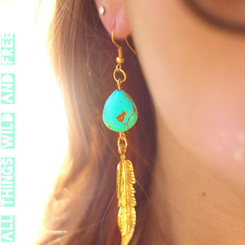 Boho Hippie Turquoise Stone and Feather Earrings
