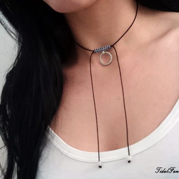 Silver ring necklace - black cord necklace - simple necklace - black choker - silver necklace - charm necklace - long necklace - boho