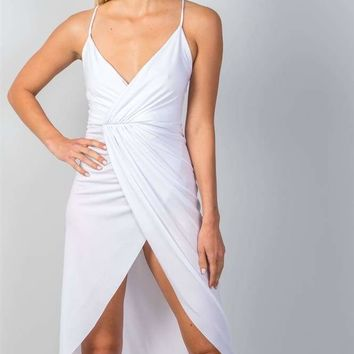 Ladies fashion white hi-low deep plunge summer dress