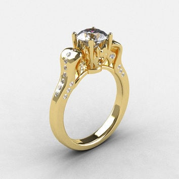 14K Yellow Gold White Sapphire Diamond Wedding Ring, Engagement Ring NN101-14KYGDWS