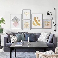 Posters And Prints Canvas Painting Wall Art Picture For Living Room Bedroom Nordic Marble Golden English Phrase Photo Decoration