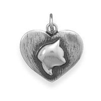 Oxidized Sterling Silver Cat Silhouette Charm