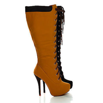 Latisha Wheat Pu by Nature Breeze, Knee High Lace Up Platform Stiletto Heel Boots