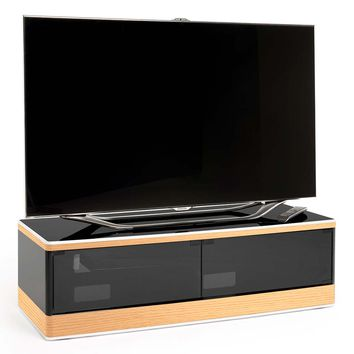 "Studio 45"" Low Profile TV Stand IR Glass Doors Light Oak Veneer Piano Black"