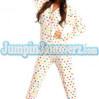 White Frosty Dots Hooded Adult Pajamas - Hooded Footed Pajamas - Pajamas Footie PJs Onesuits One Piece Adult Pajamas - JumpinJammerz.com
