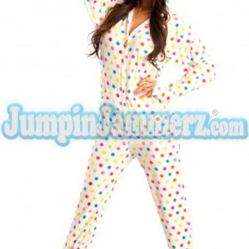 Frosty Dot Hoodie - Hooded Footed Pajamas - Pajamas Footie PJs Onesuits One Piece Adult Pajamas - JumpinJammerz.com