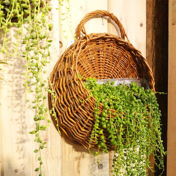 Rattan Flower Basket Plant Hanging Container Home Indoor Office Wedding Decor Wickered Wall Vase