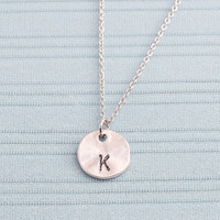 Gold or Rhodium Plated, Simple Organic Shaped Round Charm, Personalized Stamped Initial, Color is Your Choice, Necklace