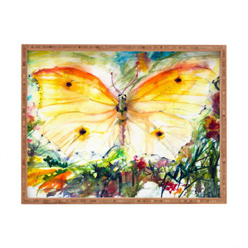 Ginette Fine Art Yellow Butterfly Rectangular Tray