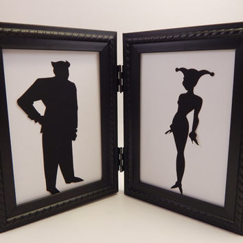 Harley Quinn and Joker sweetheart couple 4x6 Framed Sets  Hand cut paper art black silhouette paper cutting