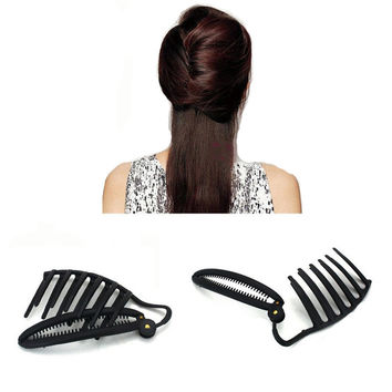 Hot Sale Women Girl Black Trendy DIY Hair Styling Updo Bun Comb Hair Clip Twist Maker Holder Hair Accessories