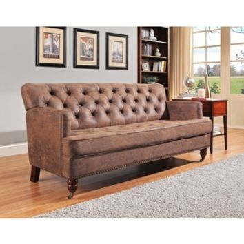 Abbyson Tafton Antique Brown Fabric Club Sofa - Free Shipping Today - Overstock.com - 20035668 - Mobile
