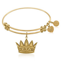 Expandable Bangle in Yellow Tone Brass with Zeta Tau Alpha Symbol