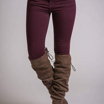 Lover's Lane Skinny Leg KanCan Jeggings  (Burgundy)