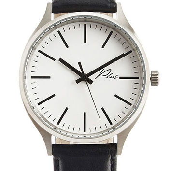 The Classic Watch in White and Black Leather