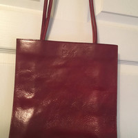 Vintage Wilson's Leather Handbag, Pelle Studio design, Burgundy Leather Purse, Exposed Stitching, Wilson's Leather Purse, luxurious feel