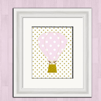 Printable digital art, hot air balloon, pink polka dot, baby girl nursery wall decor, instant download, pink balloon, printable wall art